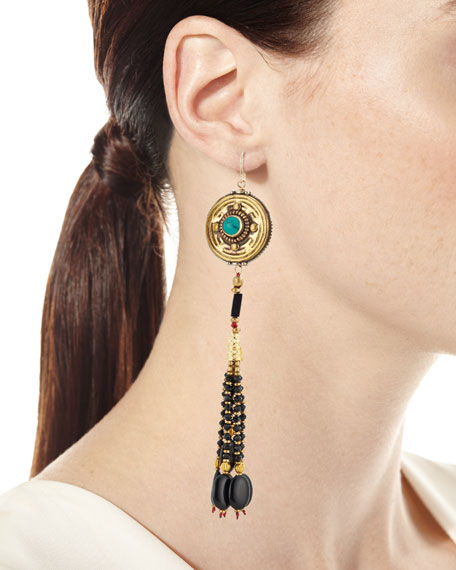 Antiqued Turquoise & Onyx Beaded Earrings