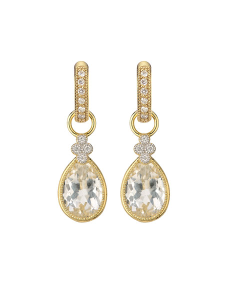 Provence White Topaz Pear Earring Charms with Diamonds