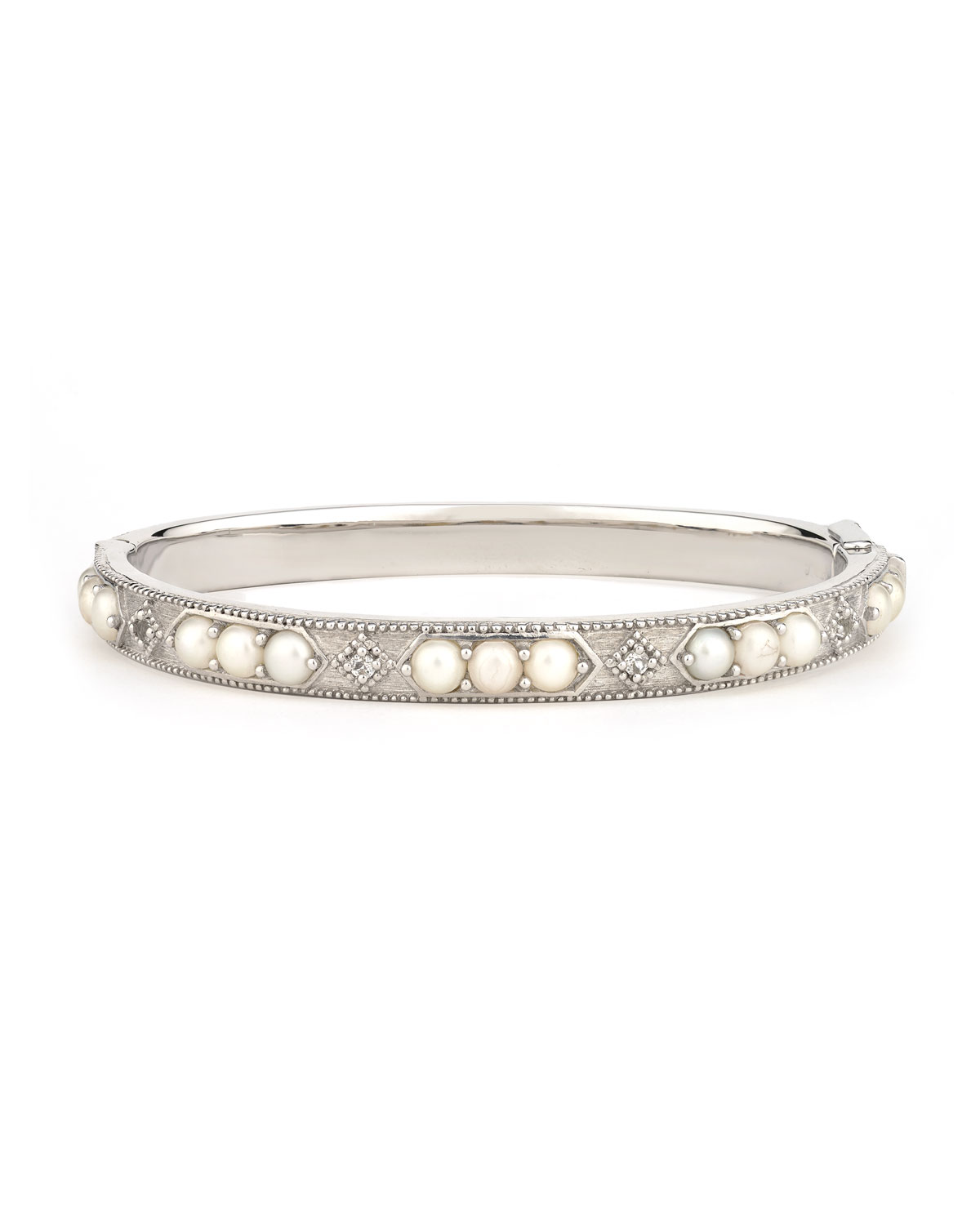 Jude Frances Encore Lisse Sterling Silver Stone Bangle with Labradorite/Quartz Doublet QzyYnfi6S2