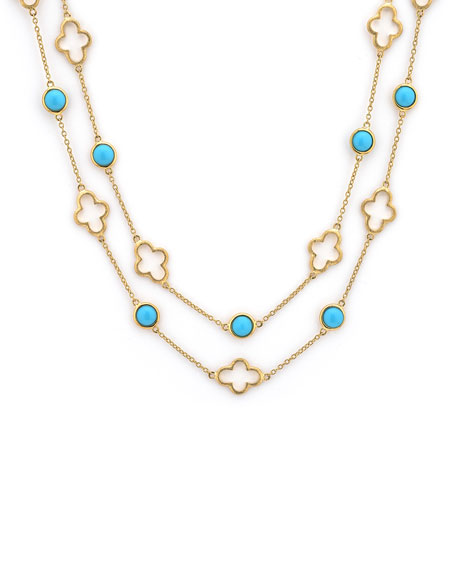 Bezel-Set Turquoise Station Necklace, 32""