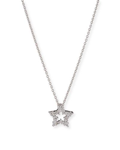 Diamond Star Pendant Necklace in 18K White Gold
