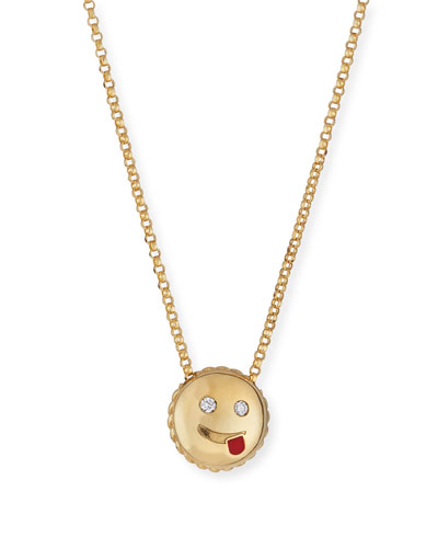 Cheeky Emoji Pendant Necklace with Diamonds