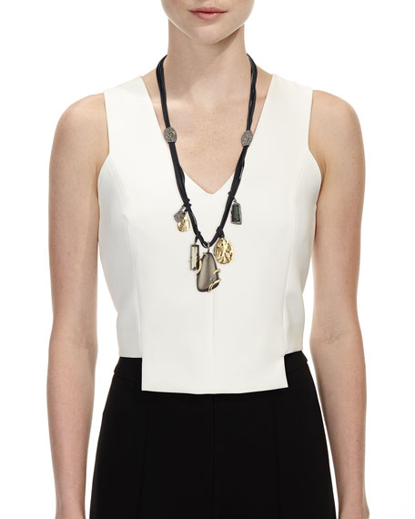 Long Charm Necklace w/Suede Cord