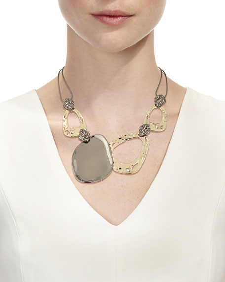 Link Rocky Pyrite Crystal Accent Ruthenium-Tone Necklace