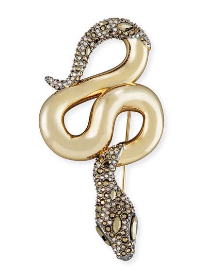 Medium Metallic Snake Crystal Pin