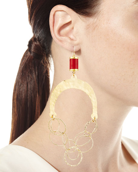 Hammered Chain & Coral Chandelier Earrings