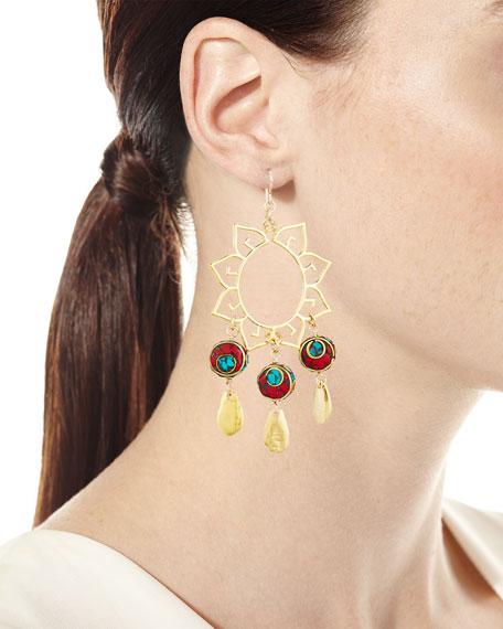 Turquoise & Coral Sun Chandelier Earrings
