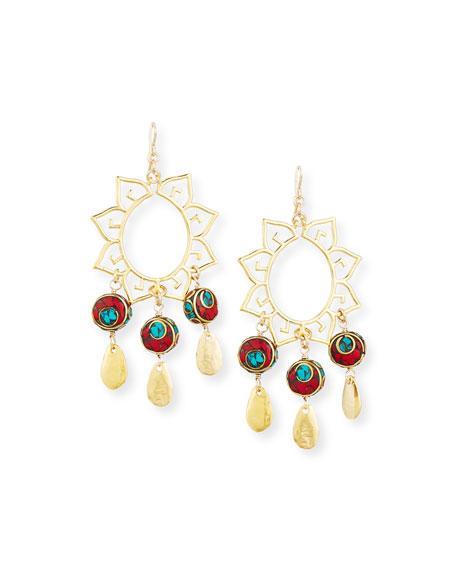 Devon Leigh Turquoise & Coral Sun Chandelier Earrings