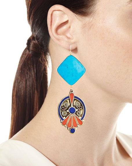 Turquoise & Lapis Bezel Statement Earrings