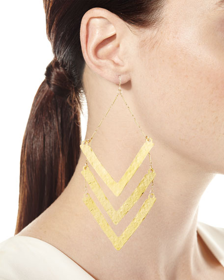 Hammered Triple-Wedge Statement Earrings