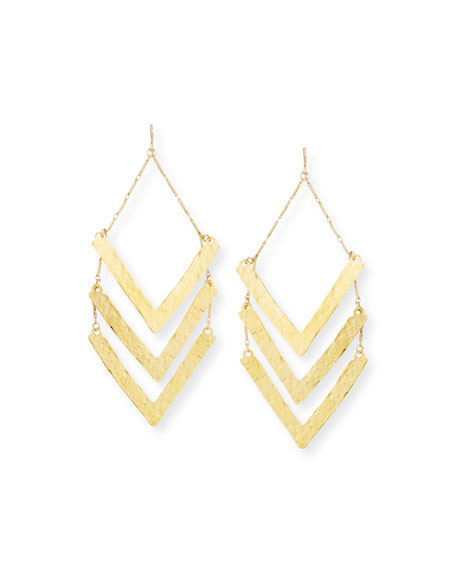 Devon Leigh Hammered Triple-Wedge Statement Earrings