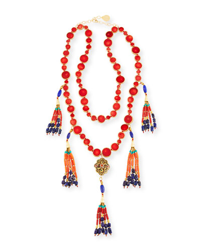 Two-Row Copper-Infused Red Coin Tassel Necklace
