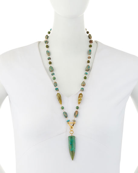 Turquoise & Jade Beaded Pendant Necklace