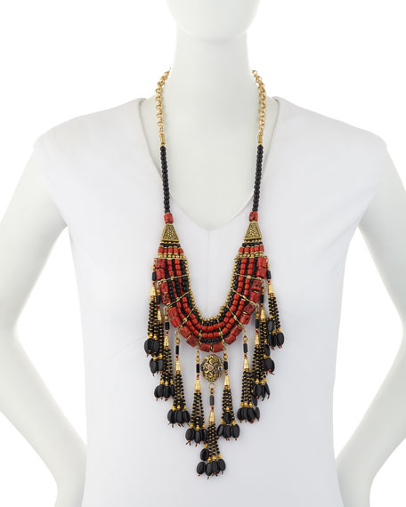 Red & Black Onyx Tassel Necklace