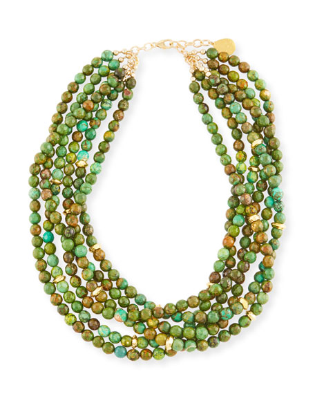 Multi-Strand Green Turquoise Beaded Necklace