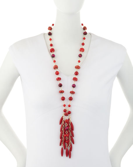 Beaded Coral Spike Fringe Necklace