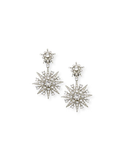 Crystal Star Drop Clip-On Earrings