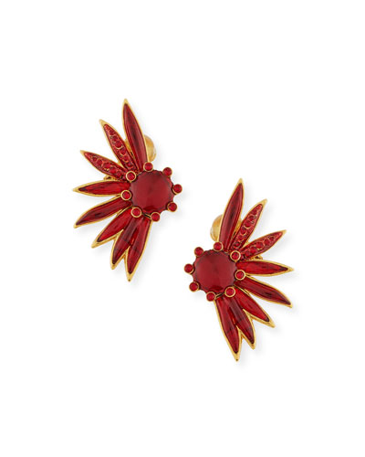 Floral Resin Clip-On Statement Earrings