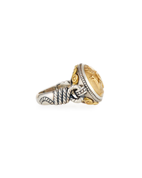 East-West 18K & Sterling Silver Ring, Size 7
