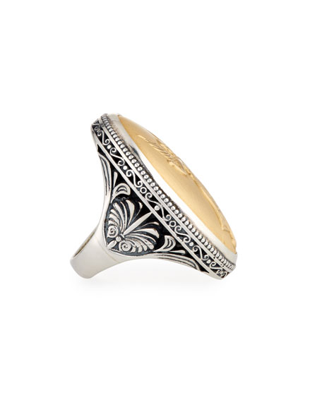 Carved 18K Gold & Sterling Silver Ring, Size 7