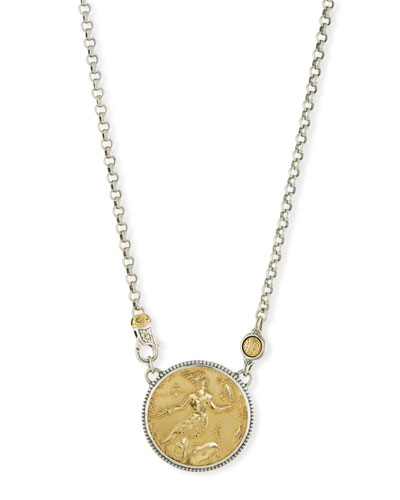 18K Gold & Sterling Silver Coin Pendant Necklace