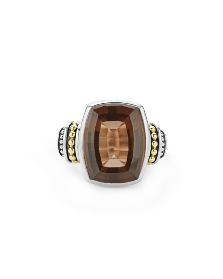 20mmm Caviar Color Smoky Quartz Ring, Size 7