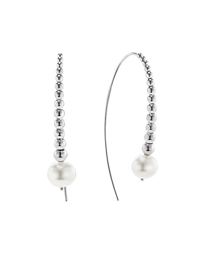 Caviar & Pearl Wire Earrings