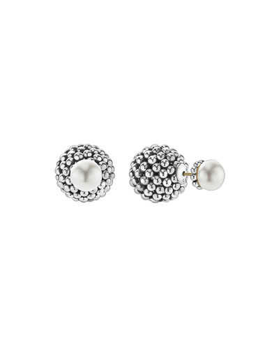Caviar Pearl Front-Back Stud Earrings
