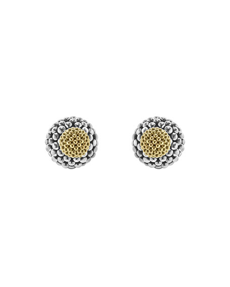 Sterling Silver & 18K Gold Front-Back Ball Earrings