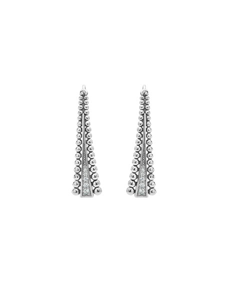 Caviar Spark Linear Wire Earrings with Diamonds