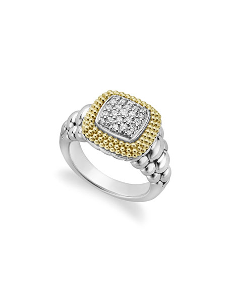 Diamond Lux Square Ring, Size 7