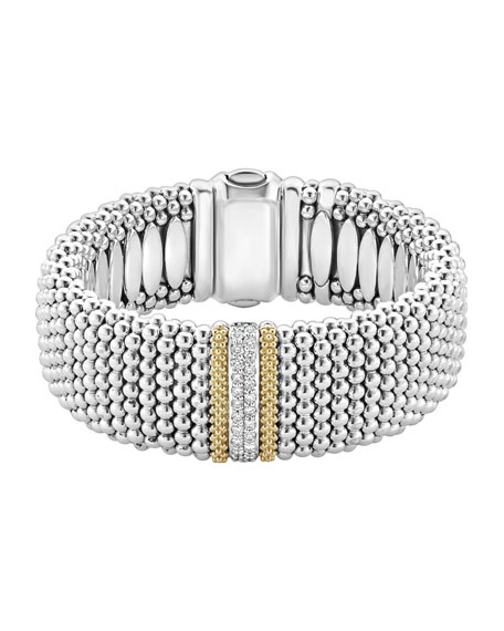 Diamond Lux Caviar 23mm Single-Station Bracelet