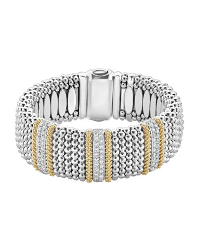 Diamond Lux Caviar 23mm Three-Station Bracelet