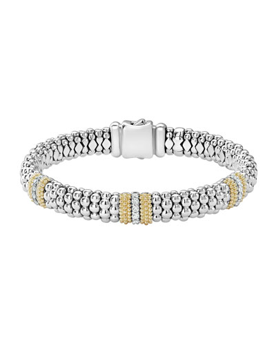 Diamond Lux 9mm Three Station Bracelet with Diamonds