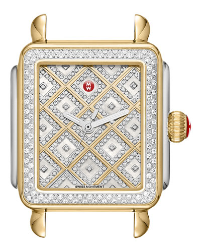 Deco Diamond Two-Tone Watch Head w/ Diamonds