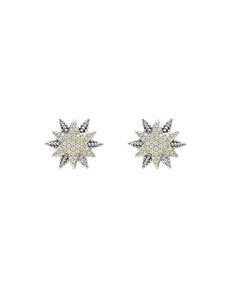 Sterling Silver & 18K Gold Star Stud Earrings with Diamonds