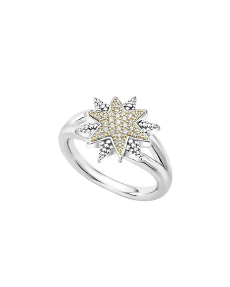 Lagos Sterling Silver & 18K Gold Star Ring