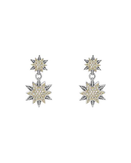 Diamond Double-Star Drop Earrings