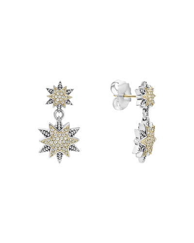 Diamond Double-Star Drop Earrings