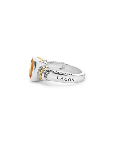 Caviar Color 10mm Citrine Ring, Size 7