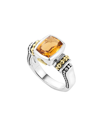 Caviar Color 10mm Citrine Ring, Size 7