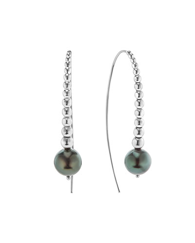 Graduated Caviar Hook Pearl Earrings