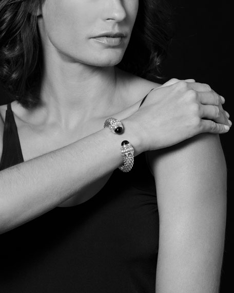 Caviar Gemstone Hinge Cuff Bracelet