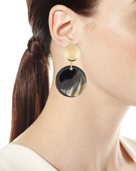 Golden Dome & Dark Horn Drop Earrings