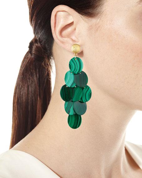 Malachite Cluster Statement Earrings
