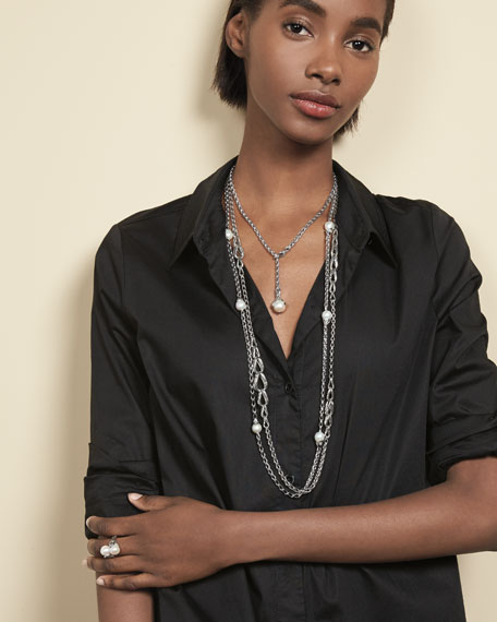 Bamboo Chain Necklace with Pearls, 36""