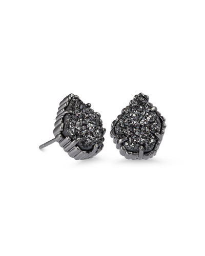 Tessa Black Druzy Button Earrings