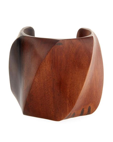 Tiger Wood Swirl Cuff Bracelet
