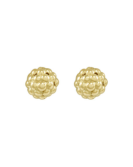18K Gold Caviar Stud Earrings