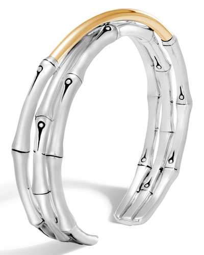 Bamboo 18K Gold & Silver Small Flex Cuff Bracelet